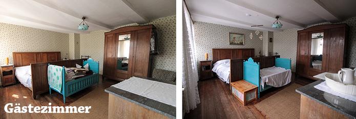 Gästezimmer im Urzustand und jetzt