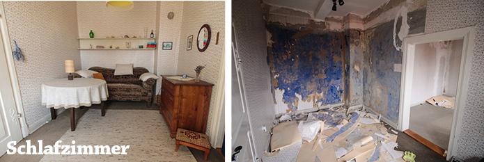 Schlafzimmer mit ursprünglicher Wandfarbe