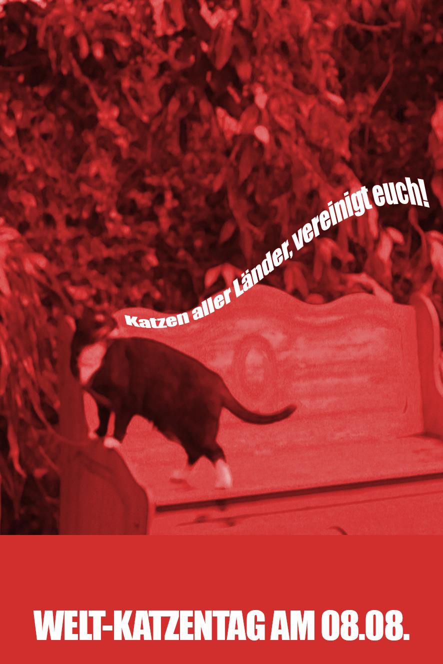 Poster zum Weltkatzentag mit Piri