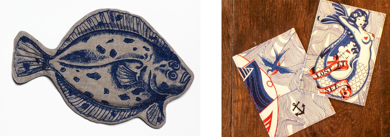 Körnerkissen in Fischform und maritime Postkarten